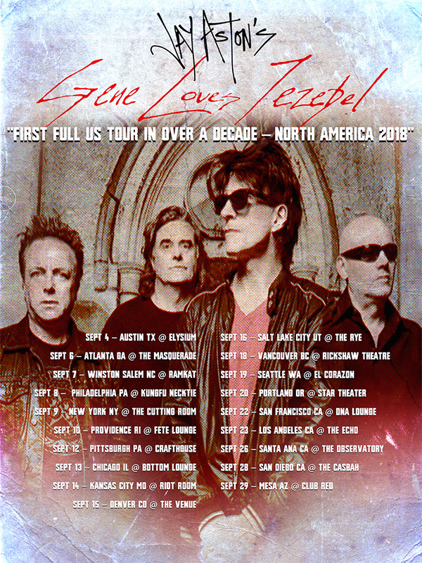 Poster of tour dates for Gene Loves Jezebel's American Tour 2018