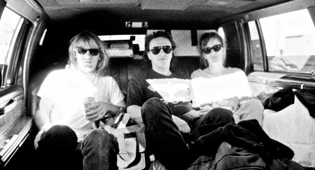 Pete, James and Kirsten in limo